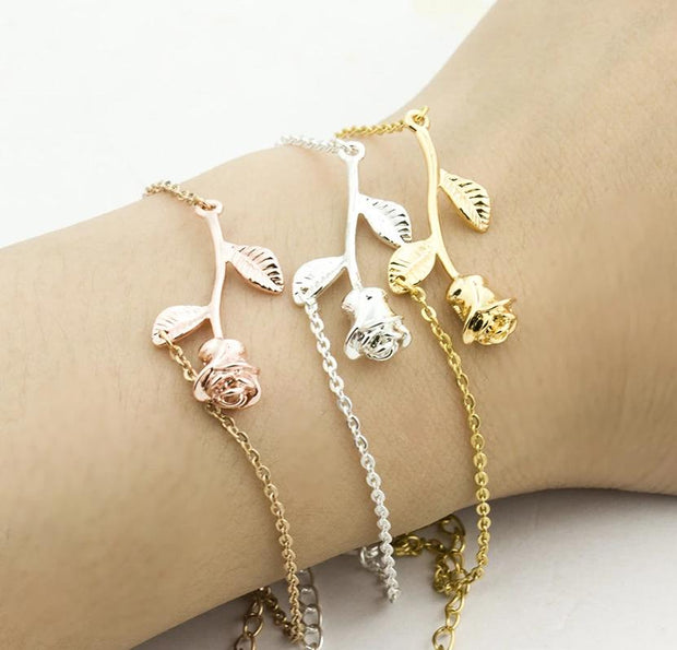 Boho Pink / Gold / Rose Flower For Women Leaf BFF Jewelry Christmas Gift Bracelet