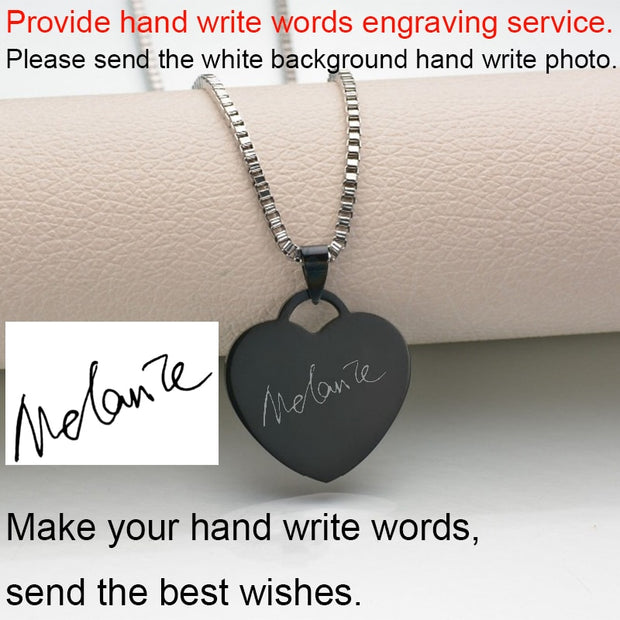 Customized Engrave Photo Name Necklace Stainless Steel Heart
