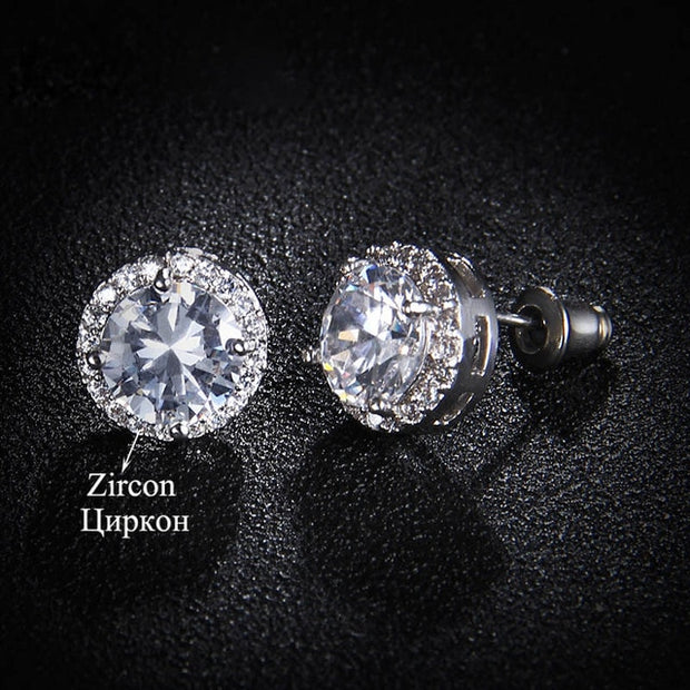 Classic Green AAA Cubic Zirconia Fashion Stud Earrings
