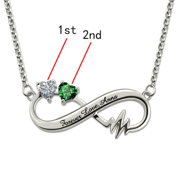 Personalized Engraving Heartbeat Infinity Necklace Custom Name Letter Birthstone Choker Chain Necklaces for Lover