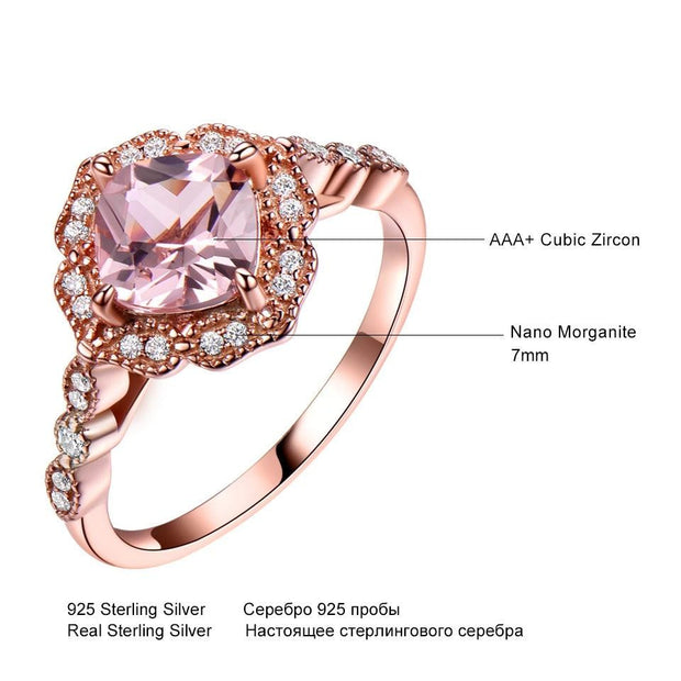 925 Ring Set Morganite / Engagement / Wedding Ring