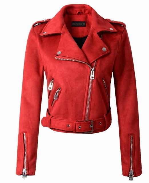 Faux Leather Women Motorcycle Jacket