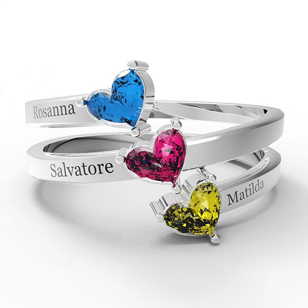 Custom Three Names with Birthstones 925 Sterling Silver Fashion Jewelry Ring For Women