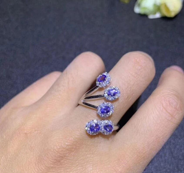 Party Cocktail Natural Tested Tanzanite Gemstone Ring, 925 Sterling Silver, 3*5mm*5Pcs Birthstone