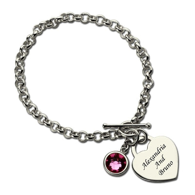 Custom Name Bracelet with Birth Stone Love Heart Charm Bracelets