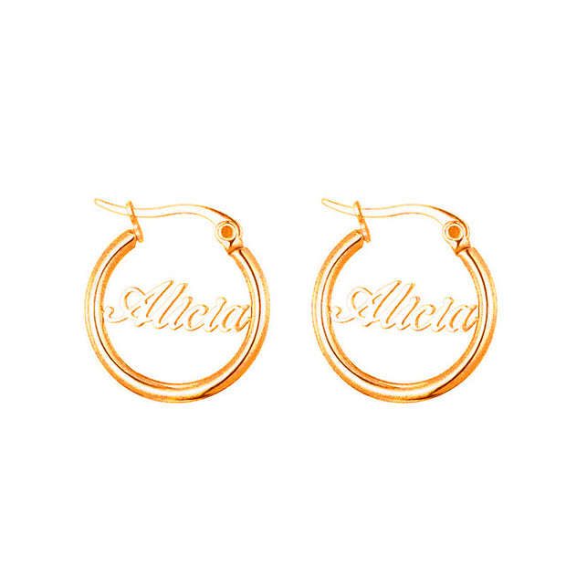 Fashion Personalized Custom Name Dangle Earrings Silver/Gold /Big Round Circle