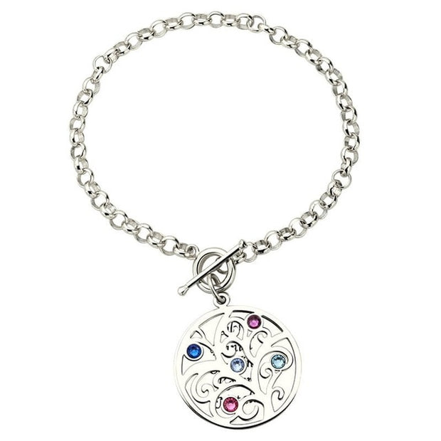 Costume Name Bracelets for Women Family Tree of Life Bracelet with Letter Engraving Birthstones Silver 925 Jewelery Gift for Mom
