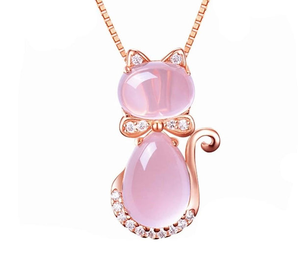 Women's Rose Gold Color Cat Pendant Valentines Day Charms Necklace Jewelry Gift