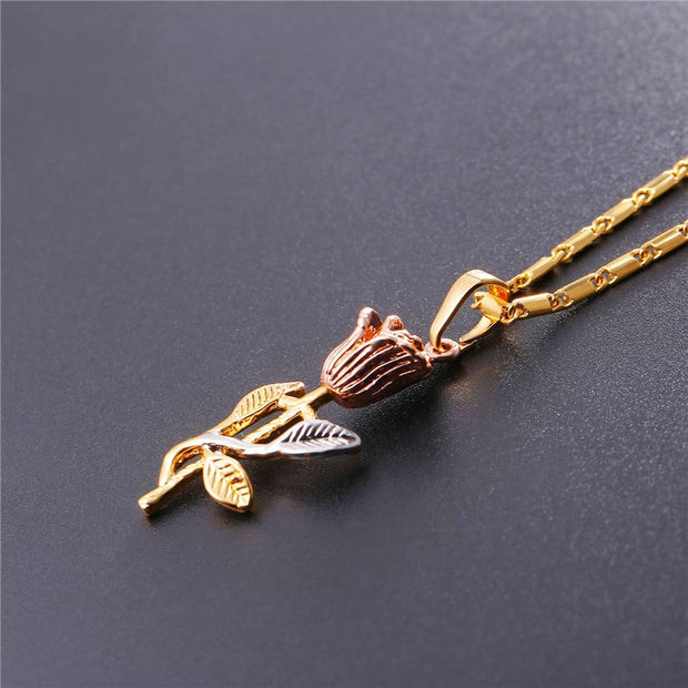 Rose Flower Necklace & Pendant Gold Color Necklaces Bridesmaid gift / mother's day Gift Jewelry