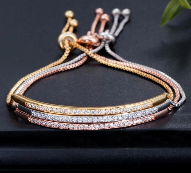 Adjustable Bracelet Bangle Captivate Zircons