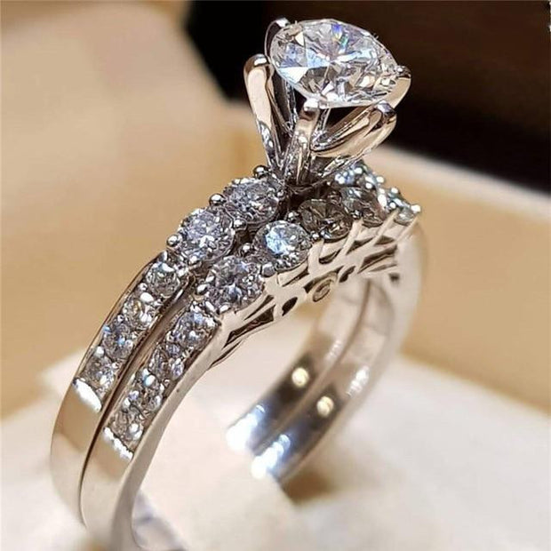 2Pcs Fashion bridal Set Elegant rings for Women Sliver Color Wedding Engagement