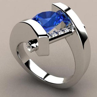 Unique Style Crystal  Blue Stone Wedding /Engagement For Women