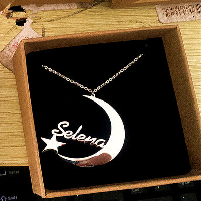Custom name crescent moon and star necklace