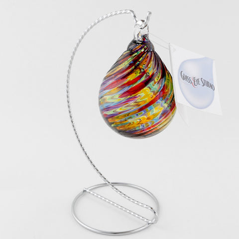 Glasseye Rainbow Twist Classic Raindrop ornament