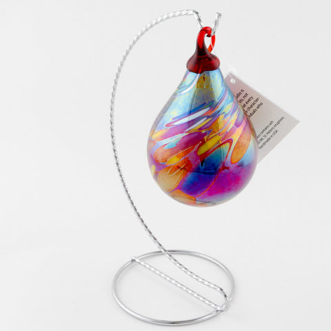 Red Swirl Raindrop Ornament
