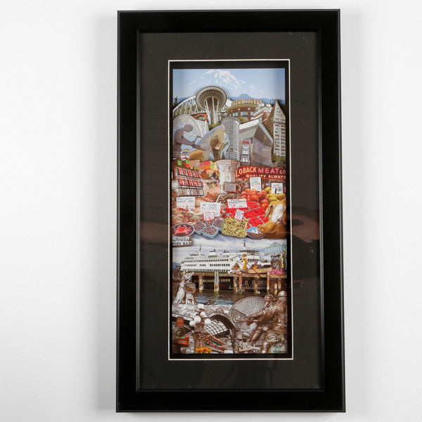 Framed 3D Seattle Photo Montage