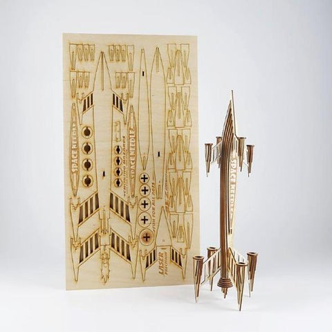 Laser-Cut Wood Rocket Model