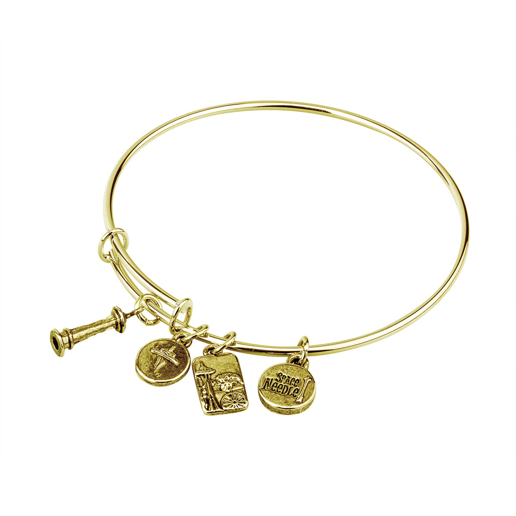 Gold Metal Bracelet with Space Needle Charms