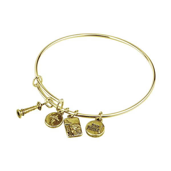 Gold Metal Bangle with Space Needle Charms