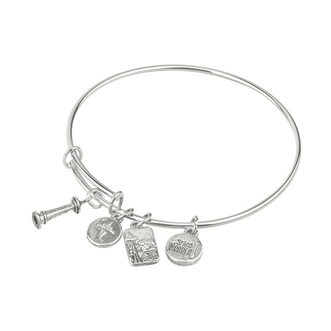 Silver Metal Bangle With Space Needle Charms