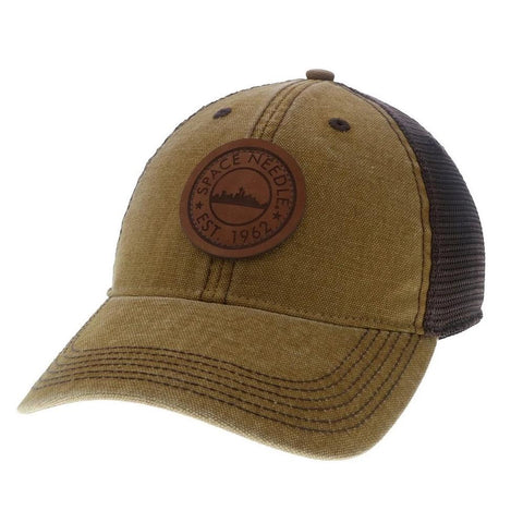Leather Patch Canvas Baseball Cap