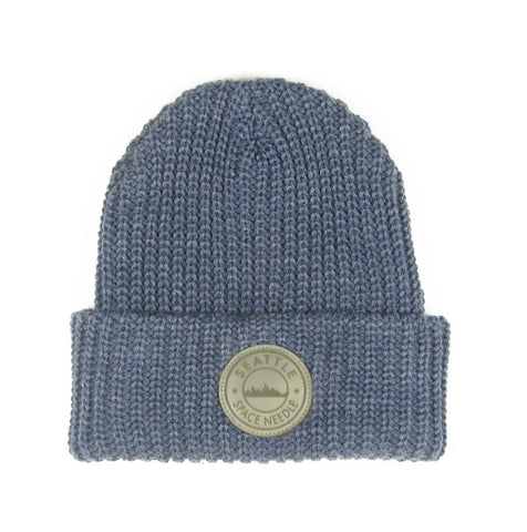 Space Needle Knit Beanie with Leather Patch