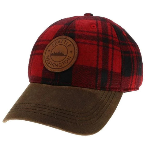 Leather Patch Flannel Baseball Cap