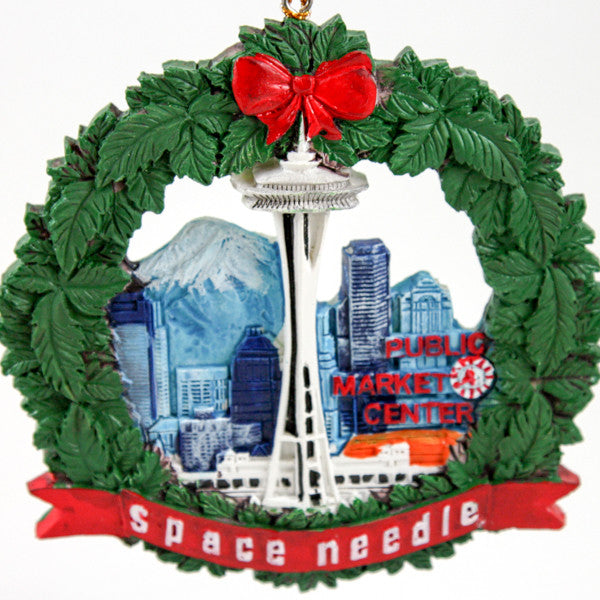 Wreath Ornament - Seattle Cityscape