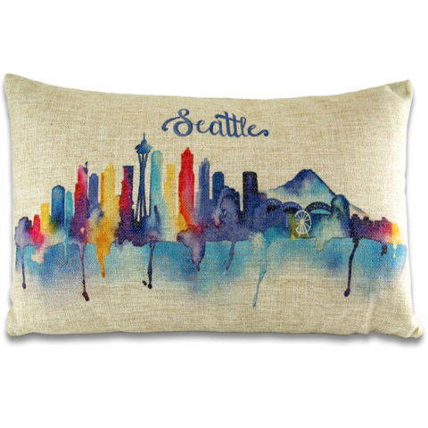 Watercolor Skyline Pillow