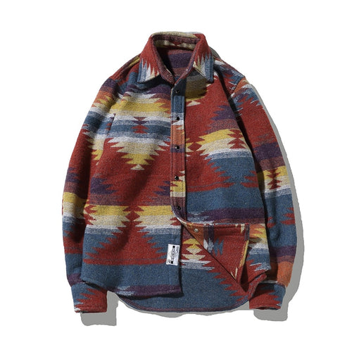 Men Vintage Woolen Leisure Pattern flannel
