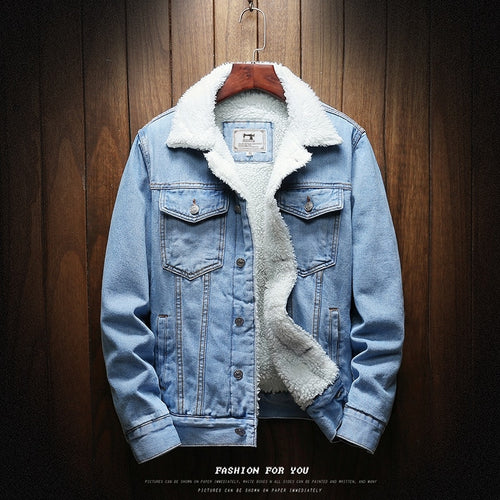 Men Light Blue Winter Jean Jacket Denim Coat