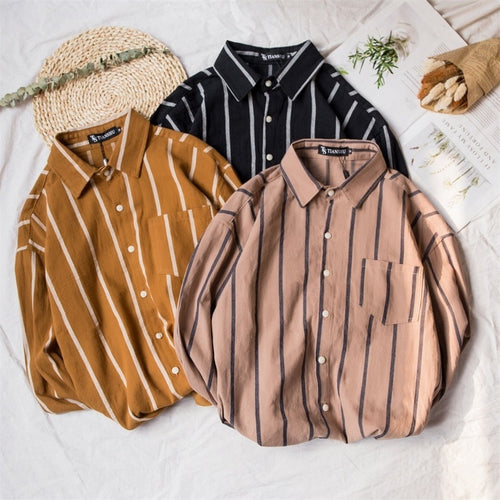 Men Vintage Vertical Stripes Long Sleeve Shirt