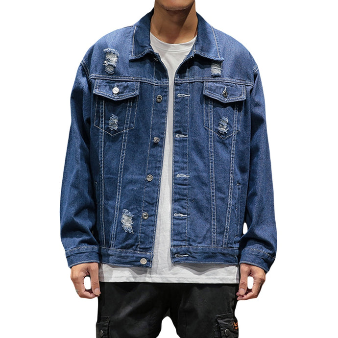 Mens Bomber Thin Ripped Denim
