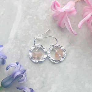 Delicate Dangle Hoop Earrings in Sunstone