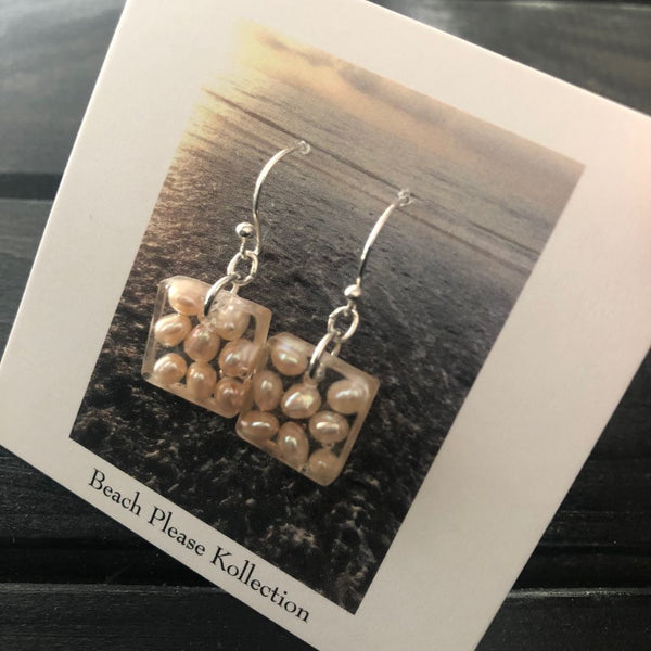Pearl Square Dangle Earrings