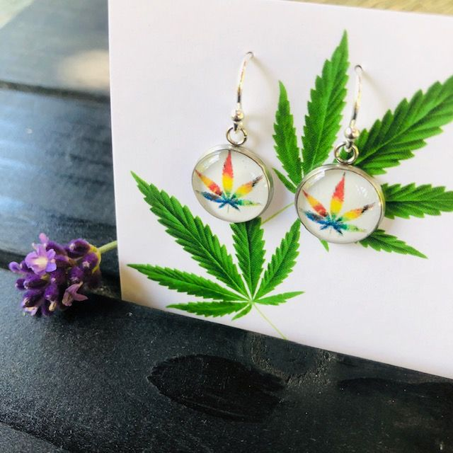 Pride Cannabis Leaf Earrings