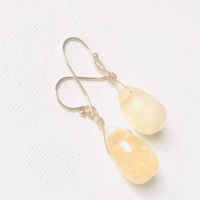 Citrine Briolette Dangle Earrings-Gold