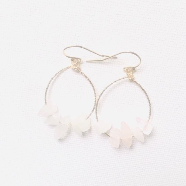 Rose Quartz Hoop Earrings-Gold