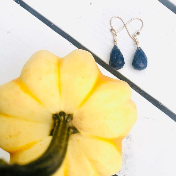 Lapis Lazuli Briolette Dangle Earrings