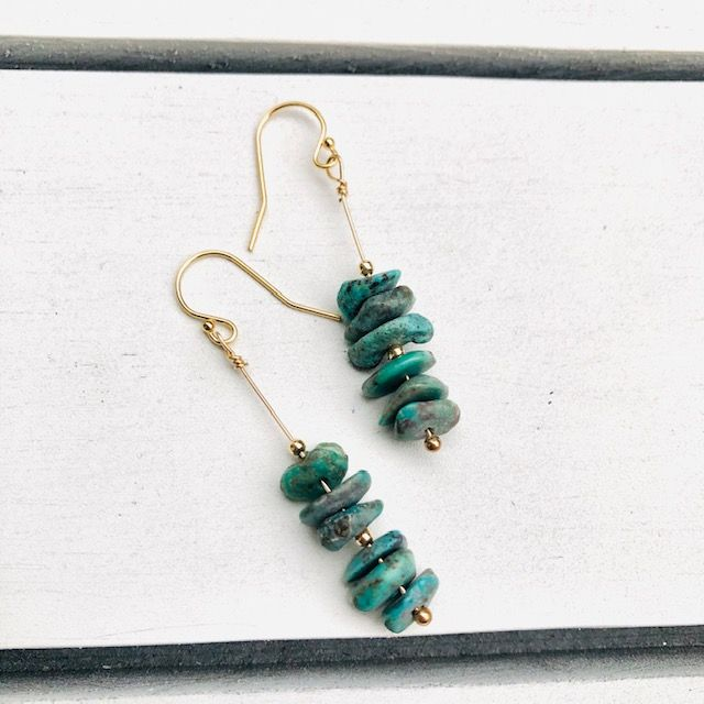 Turquoise Dangle Earrings-Gold
