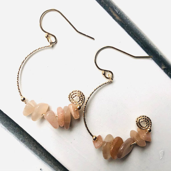 Sunstone Moon Earrings