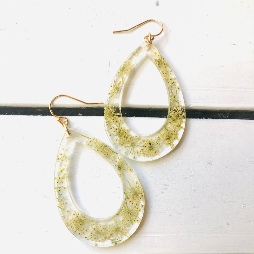 Queen Anne's Lace Teardrop Earrings-Gold