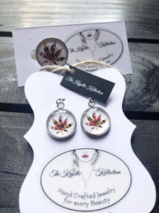 Maryland Cannabis Leaf Pin & Earring Set