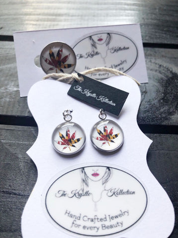 Maryland Flag Leaf Pin & Earring Set
