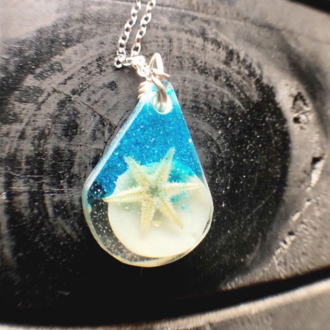 Ocean Blue Beach Drop Necklace