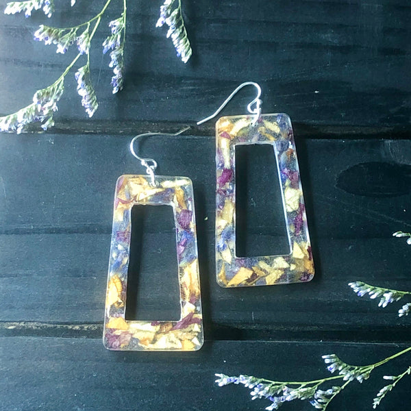 Floral Confetti Frame Earrings