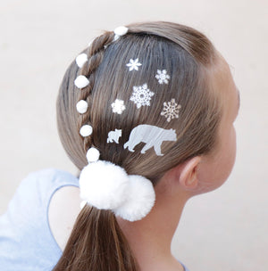 Snowflake and Bear Hair Tattoos
