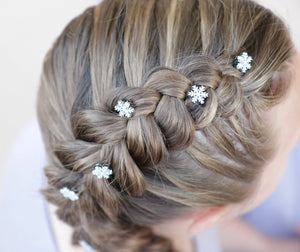 Snowflake Hair Charms on Dutch Braid