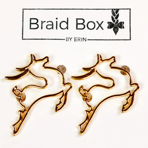Gold Reindeer Hair Clips