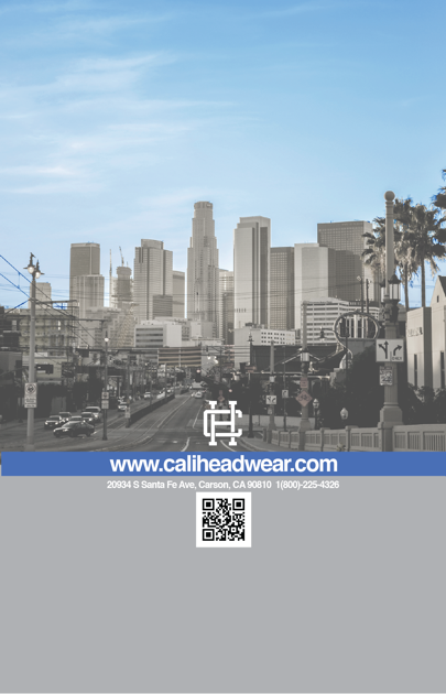 Cali Headwear 2018 Catalog Back
